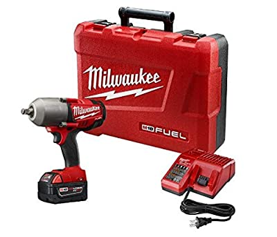 "Milwaukee 2763-21XC FUEL 18-Volt Lithium-Ion Brushless 1/2"" inch Cordless High Torque Impact Wrench with (1) Redlithium XC 5.0Ah Battery"