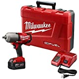 """Milwaukee 2763-21XC FUEL 18-Volt Lithium-Ion Brushless 1/2"""" inch Cordless High Torque Impact Wrench with (1) Redlithium XC 5.0Ah Battery"""