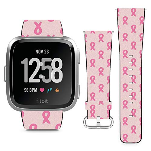 Compatible with Fitbit Versa // Leather Replacement Bracelet Strap Wristband with Quick Release Pins // Breast Cancer Awareness Ribbon