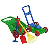 Kids / Toddler Pretend Plastic Toy Lawn Mower, Garden Cart/Wheelbarrow, 3 Hand Tools, Watering Can with FREE Pail & Shovel, Outdoor/Indoor Gardener Set. Backyard fun for Little Ones. Made in USA!.