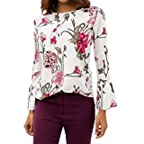 Kobay Women Pullover Top, Ladies' Autumn Fashion Casual Chiffon Floral Print O-Neck Flare Sleeve Top T-Shirt Blouse