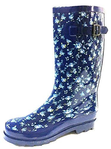 Shoes8teen Sko 18 Womens Klassiske Regn Støvler Med Spenne Utskrifter Og Faste Stoffer Blå Floral 5000