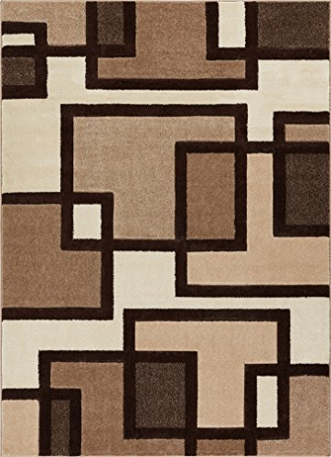 Imagination Squares Boxes Ivory & Brown Modern Ruby 3'11'' X 5'3'' Well Woven Plush Area Rug (60093)