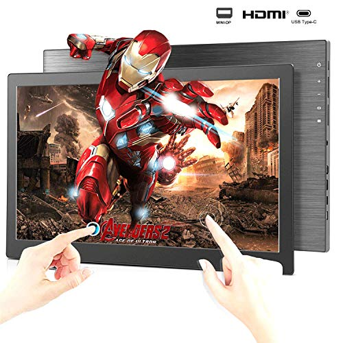 Portable Touchscreen Monitor 15.6-inch Slim IPS Gaming Screen Dual External Monitor for Laptop Computer Mac Phone with 2xUSB Type-C/Mini HDMI&DP Device PS4 Xbox Raspberry pi 2K 60Hz 3ms