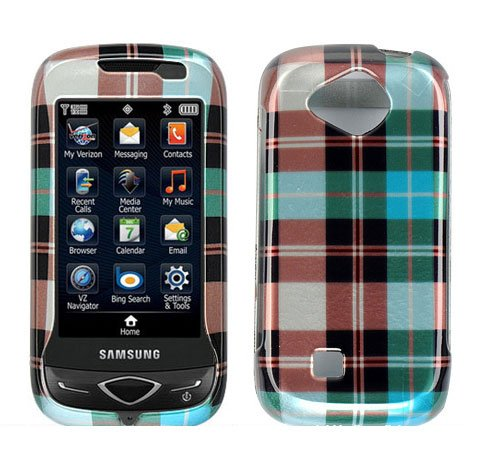 Blue Plaid Check Design Snap on Hard Cover Protector Faceplate Skin Case for Verizon Samsung Reality U820 u370 + LCD Screen Guard Film (Free Wristband)