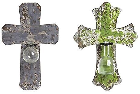 Amazon.com: Cape Craftsmen Wooden Decorative Wall Vase Crosses, Set ...