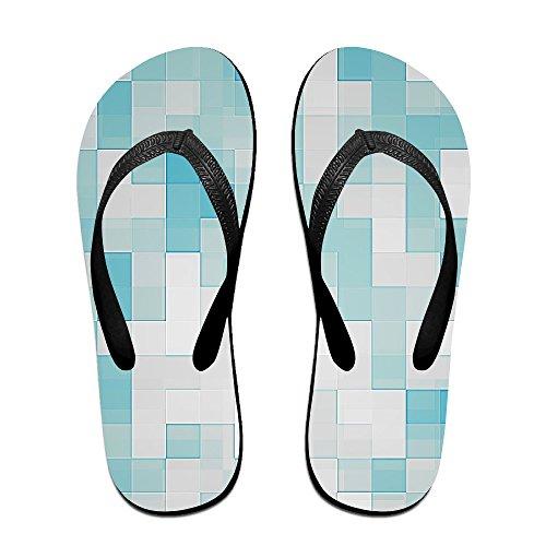JESUS SAUCEDO Colorful Block Classical V Flip Flops Beach Slippers Chinela Baboosh Babouche (Hazel Black Adult Shoes)