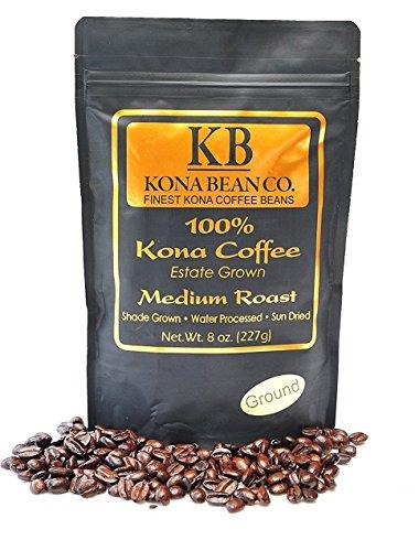Kona Coffee Hawaiian Coffee 100% Bon viveur Speciality Kona Coffee You Crave - Kona Bean Co.- Not A Blend - Medium Roast Ground Kona Coffee Beans - 8oz