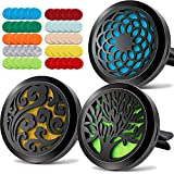 3PCS Aromatherapy Essential Oil Car Diffuser Stainless Steel Black Diffuser Locket with 50 Refill Pads