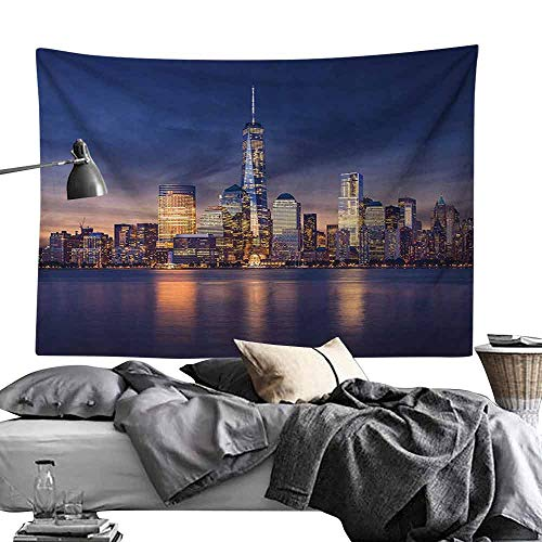 Homrkey Bed Linen Tapestry New York New York City Manhattan After Sunset View Picture with Skyline Reflection on The River Wall Hanging W90 x L59 Navy Gold