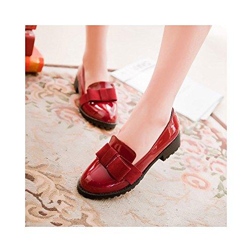 OCHENTA Arco de Moda mujer zapatos planos ocasionales Rojo