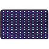 Memory Foam Bath Mat,USA,United States of America Theme Federal Holiday Celebration Revolution Design DecorativePlush Wanderlust Bathroom Decor Mat Rug Carpet with Anti-Slip Backing,Dark Blue Red Whi