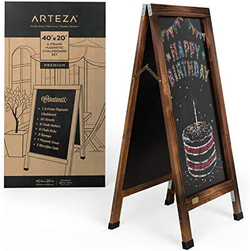Arteza A-Frame Chalkboard Easel Set, 40x20 Inch Outdoor Chalkboard Sign with Chalk Sticks, Chalk Markers, Erasers, and Stencils, Standing Sign for Businesses, Announcements & Events 1