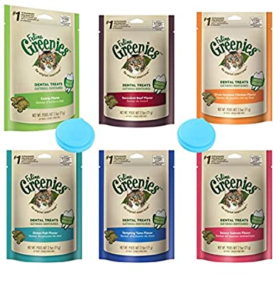 Greenies Dental Cat Treats Variety Pack - 6 Flavors (Tempting Tuna, Savory Salmon, Ocean Fish, Succulent Beef, Oven Roasted Chicken, and Catnip Flavor) - 2.5 Ounces Each (6 Total Pouches)