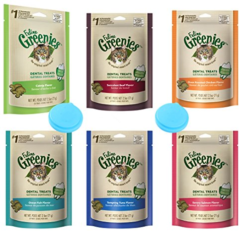 Greenies-Dental-Cat-Treats-Variety-Pack-6-Flavors-Tempting-Tuna-Savory-Salmon-Ocean-Fish-Succulent-Beef-Oven-Roasted-Chicken-and-Catnip-Flavor-25-Ounces-Each-6-Total-Pouches