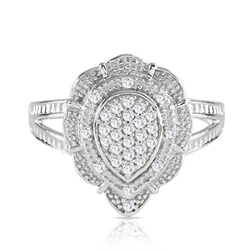 Natalia Drake Sterling Silver Pear Shaped Dome Ring Round 1/4CTW Diamond