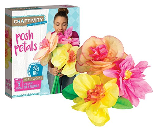 CRAFTIVITY Posh Petals Craft Kit - Dye and Assemble 3 Paper Flowers (Petals Posh)
