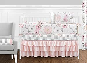 9 Pcs. Blush Pink, Grey and White Shabby Chic Watercolor Floral Baby Girl Crib Bedding Set with Bumper by Sweet Jojo Designs - Rose Flower Polka Dot
