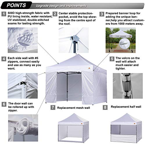 ABCCANOPY White 10 X 10 Ez Pop up Canopy Tent Commercial Instant Gazebos with 6 Removable Sides and Roller Bag and 4x Weight Bag