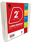 3 Ring Binders, 2 inch Slant-D Rings, White, Clear View, Pockets - 10 Pack by Officewerks