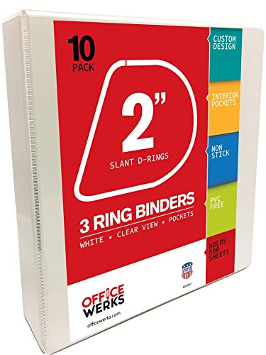 """3 Ring Binder, 2"""" Slant-D Rings, 10 Pack, White, Clear View,"""