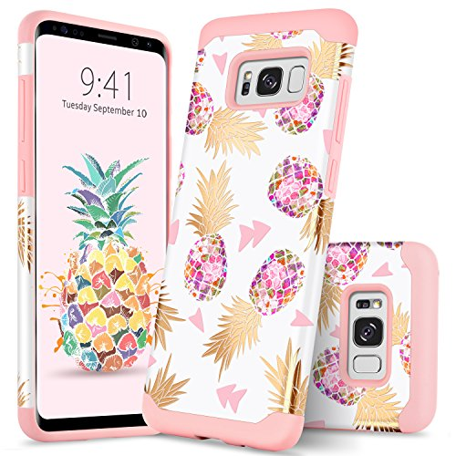 GUAGUA Galaxy S8 Case Samsung S8 Case Pineapple Girls Women Ultra Slim Hybrid Hard PC Soft Silicone Glossy Cover Anti-Scratch Shockproof Protective Phone Case for Samsung Galaxy S8 Rose Gold