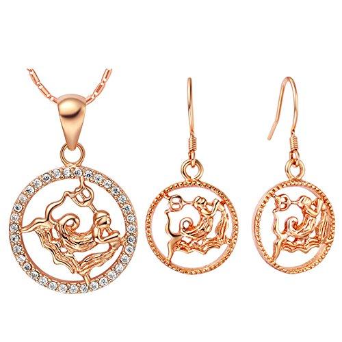 Rose Gold Cubic Zirconia Zodiac Constellation Aquarius Pendant Hook Earrings Jewelry Set Birthday Gift (Earrings Zodiac Necklace)
