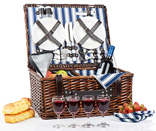 (Picnic Basket Set for 4 Person | Insulated Picnic Hamper Set | Picnic Table Set | Picnic Plates | Picnic Supplies | Summer Picnic Kit | Picnic Utensils Cutlery Flatware)
