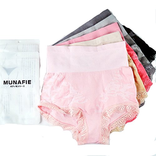 MUNAFIE 5-pack Womens Shapewear Seamless Hi-waist Brief Panty Firm Control Tummy Slimming panties lace US4-7 (5 colors, One size fits for US (Hi Waist Brief Panty)