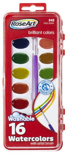 RoseArt 16-Color Washable Watercolors with Brush, Packaging May Vary (DFB79)