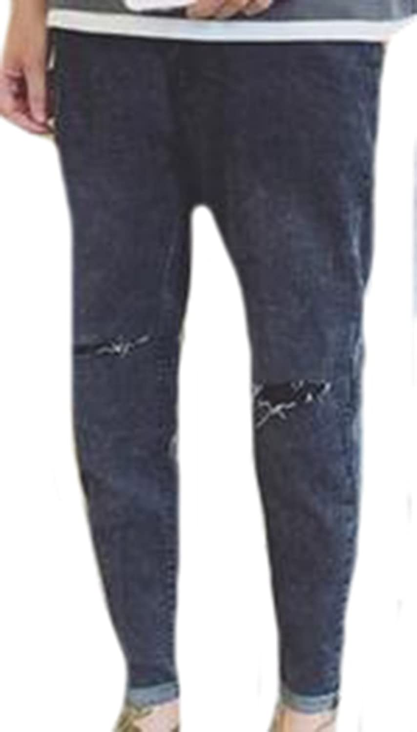 ARRIVE GUIDE Mens Casual Slim Mid Rise Ripped Faded Jeans Pants