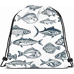 Ahawoso Drawstring Backpack String Bag 14X18 Fishing Sketch Fish Pattern Food Drink Underwater Seafood Animal Tuna Ocean Vintage Graphic Etching Nature Sport Gym Sackpack Hiking Yoga Travel Beach