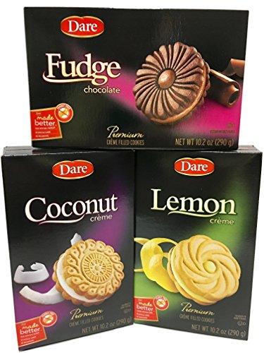 Coconut Cookies Wafer - Dare Cookie Assortment - Fudge, Coconut and Lemon - Premium Crème Filled Cookies