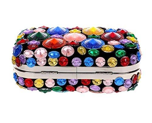 chaîne Sacs Soirée Robe Épaule en multicolor Perlé Multicolore à Sac pour Embrayage femmes main Mariage AnxqaFABw