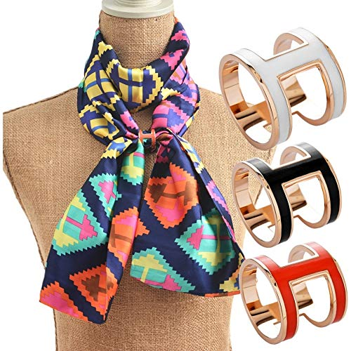 wangxiyan Fashion Women Jewelry Colored Enamel Brooch Copper Gold Plated Letter H Carriage Hijab Shawl Scarf Scarves Buckle Clips(Black,1.9 cm)