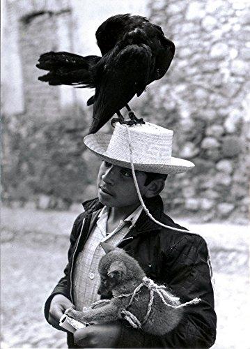 B&W Boy with Fox and Crow in San Miguel De Allende Mexico