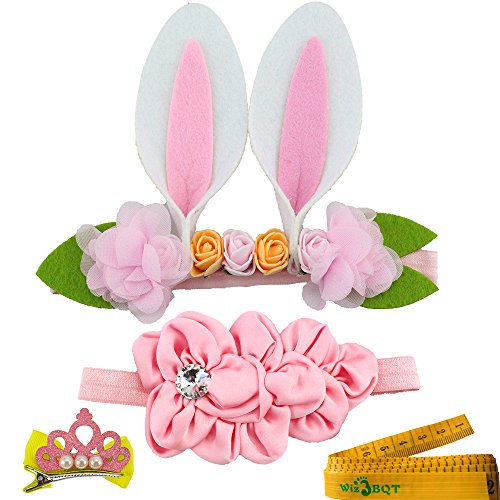 Cat Dog Pet Headband and Pink Flowers Hair Head Bands Accessories for Dogs Cats Pets (Bunny Ears)