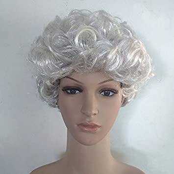 Amazon Com Fashion 2018 Plays Old Mother Gray Wig Short Curly Gray