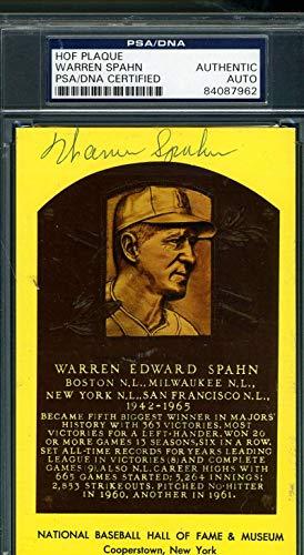 WARREN SPAHN PSA DNA Coa Autograph Gold HOF Plaque Hand Signed Authentic