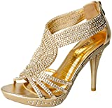 Fabulous Delicacy-07 Open Toe Platform Sandals for Women, Gold Pu, 6.5
