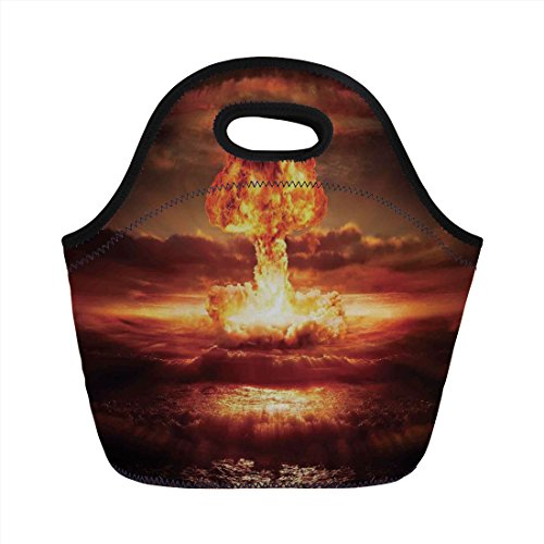 Neoprene Lunch Bag,Country,Bomb in the Ocean Fusion Radioactive Weapon Apocalypse Illustration Print Decorative,Orange Yellow,for Kids Adult Thermal Insulated Tote Bags