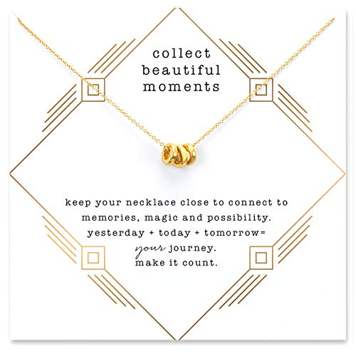 LANG XUAN Friendship Ring Clavicle Necklace Gold Lucky Rings Necklace with Meaning Card Gift