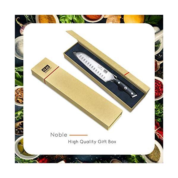 SHAN ZU Couteaux de Chef Santoku Acier Inoxydable Allemand Couteaux de Cuisine 18CM
