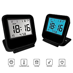 FlatLED Travel Alarm Clock, LCD Ultra-thin Clamshell 12/24 Hour with Temperature Date Week Repeating Snooze LCD Digital Screen Alarm Clock Black