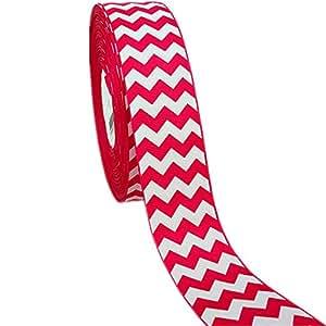 "50yd 1-1/2"" White Chevron Pattern Printed Grosgrain Ribbon for Hairbow"