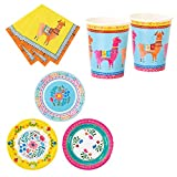 Talking Tables Bohemian, Llama & Floral Theme Summer Party Bundle | Paper Plates, Napkins & Cup