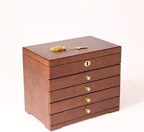 Organizadores y cajas para joyas Caja de joyería Anillo de madera Caja de almacenamiento de exhibición de joyería Caja de joyería de múltiples capas de alta capacidad Con cerradura (color opcional, 31: