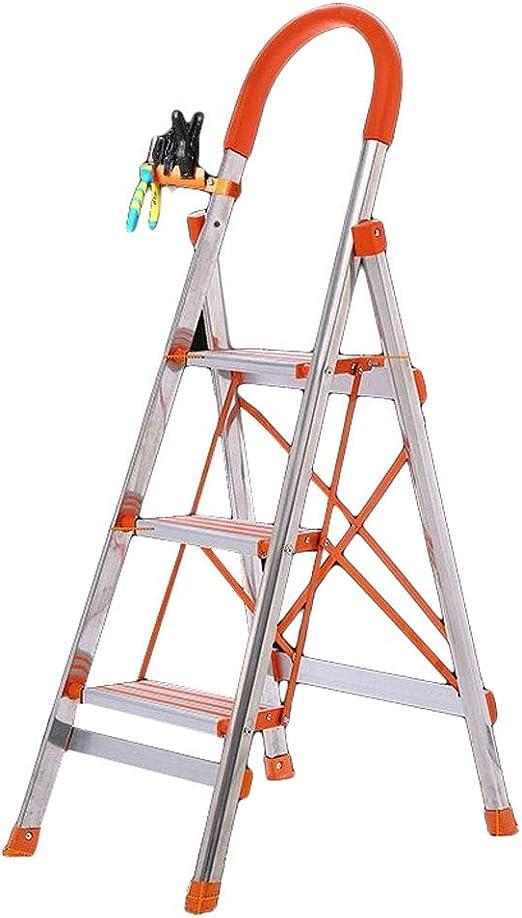 Escalera Plegable Acero Inoxidable Hogar Aleación de Aluminio Pedal Interior Portátil Multifuncional Ingeniería LCSHAN (Size : Widened Top Plate): Amazon.es: Hogar