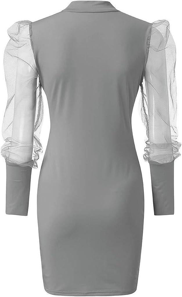 Fashion Casual Womens O-Neck Lantern Sleeve Perspective Mesh Sleeve Mini Dress