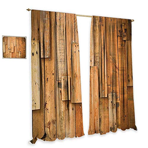 """cobeDecor Wooden Light Luxury high-end Curtains Lodge Style Teak Hardwood Wall Planks Image Print Farmhouse Vintage Grunge Design Artsy Privacy Protection 72"""" Wx63 L Brown"""